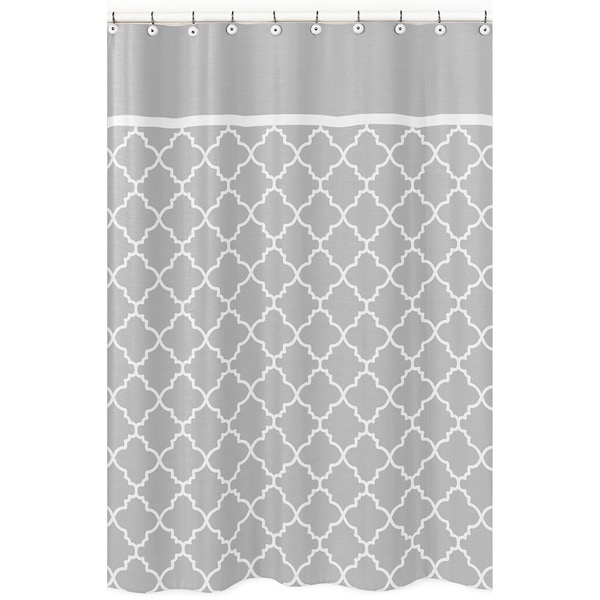 gray and white trellis childrens bathroom fabric shower curtain