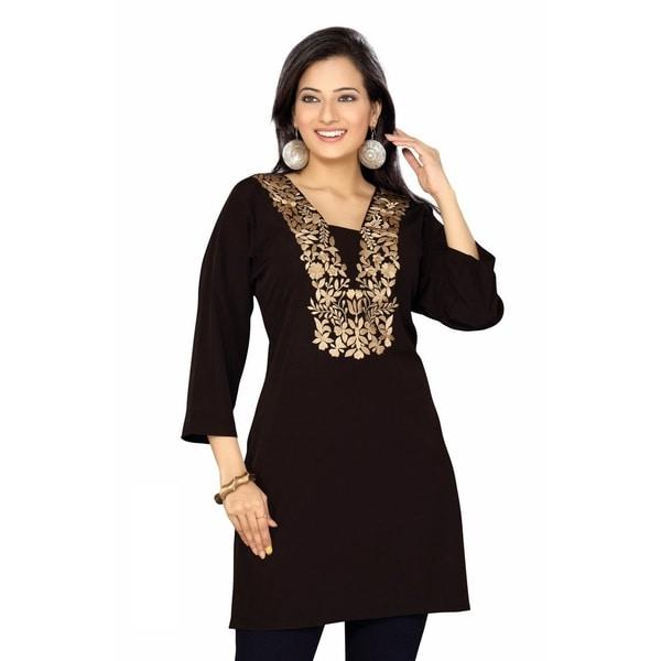 Women's Embroidered Goldtone/ Black Crepe Kurti Tunic (India)