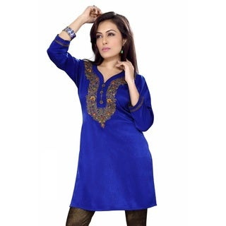 Women's Royal Blue Velvet Embroidered Indian Kurti Tunic (India)