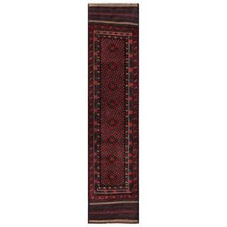 Herat Oriental Semi-antique Afghan Hand-knotted Tribal Balouchi Red/ Navy Wool Rug (1'9 x 7'7)