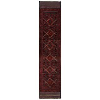 Herat Oriental Semi-antique Afghan Hand-knotted Tribal Balouchi Red/ Navy Wool Rug (2'1 x 9'2)