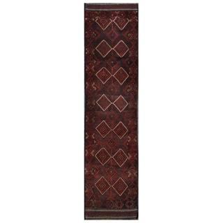 Herat Oriental Semi-antique Afghan Hand-knotted Tribal Balouchi Maroon/ Navy Wool Rug (2' x 8'8)