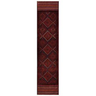 Herat Oriental Semi-antique Afghan Hand-knotted Tribal Balouchi Red/ Navy Wool Rug (1'10 x 8'8)