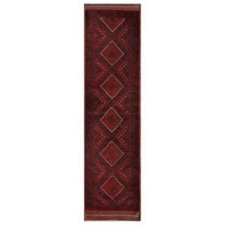 Herat Oriental Semi-antique Afghan Hand-knotted Tribal Balouchi Red/ Navy Wool Rug (2' x 8'7)