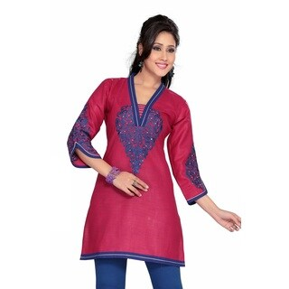 Women's Blue Embroidered Hot Pink Cotton Kurti Tunic (India)