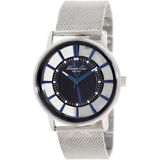 Kenneth Cole Men's KC9207 Silvertone Stainless Steel Quartz Watch with Blue Dial