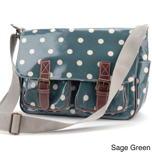 Polka Dot Printed Coated Canvas Crossbody Bag