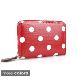 Polka-dot Oilcloth Wristlet Zip Around Coin Purse