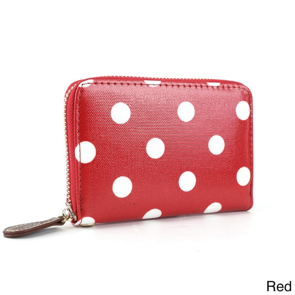 Polka-dot Oilcloth Wristlet Zip Around Coin Purse