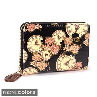 Clock and Rose Print Oilcloth Wristlet