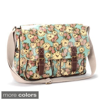 Clock Rose Print Coated PVC Crossbody Bag