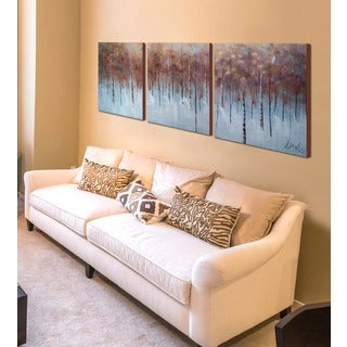 Hand-painted 'Mother Nature' 3-piece Gallery-wrapped Canvas Art Set