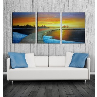 Hand-painted 'Sunset Glow' 3-piece Gallery-wrapped Canvas Art Set
