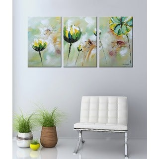 Hand-painted 'Flower 542' 3-piece Gallery-wrapped Canvas Art Set