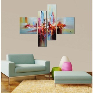 Hand-painted 'Abstract541' 4-piece Gallery-wrapped Canvas Art Set