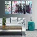 Hand-painted 'Abstract546' 3-piece Gallery-wrapped Canvas Art Set
