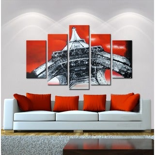 Hand-painted 'The Eiffel Tower' 5-piece Gallery-wrapped Canvas Art Set