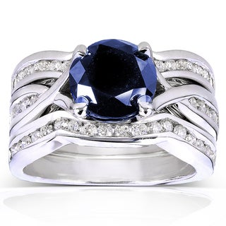 Annello 14k White Gold Round Blue Sapphire and 3/4ct TDW Diamond 3-piece Bridal Rings Set (H-I, I1-I2)