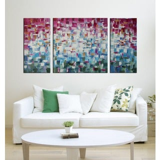 Hand-painted 'Abstract533' 3-piece Gallery-wrapped Canvas Art Set