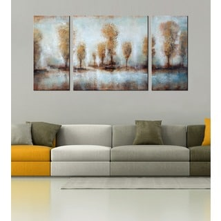 Hand-painted 'The Pure Land' 3-piece Gallery-wrapped Canvas Art Set