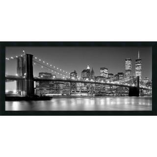 Henri Silberman 'Brooklyn Bridge' Framed Art Print 38 x 18-inch