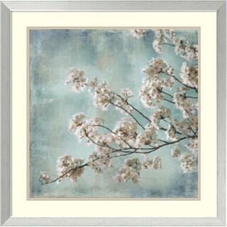 John Seba 'Aqua Blossoms I' Framed Art Print 26 x 26-inch