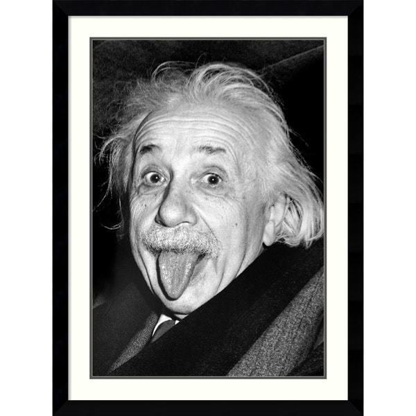 'Albert Einstein - Funny Face' Framed Art Print 32 x 43-inch