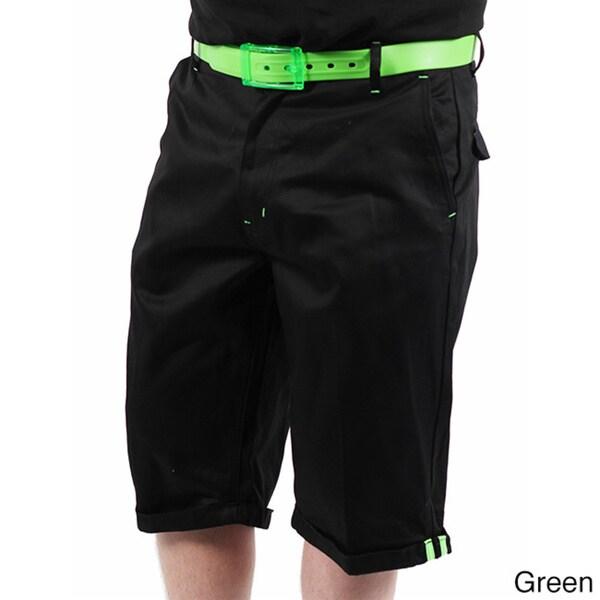 Akademiks Men's 'Flight 1' Black Neon-belted Shorts
