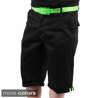 Akademiks Men's 'Flight 1' Black Neon-belted Shorts