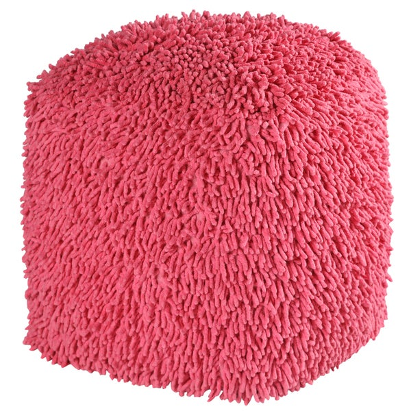 19-inch Pink Shagadelic Chenille Pouf