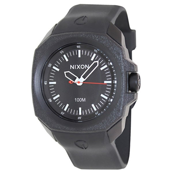 Nixon Men's Ruckus A349001 Black Rubber Quartz Watch with Black Dial