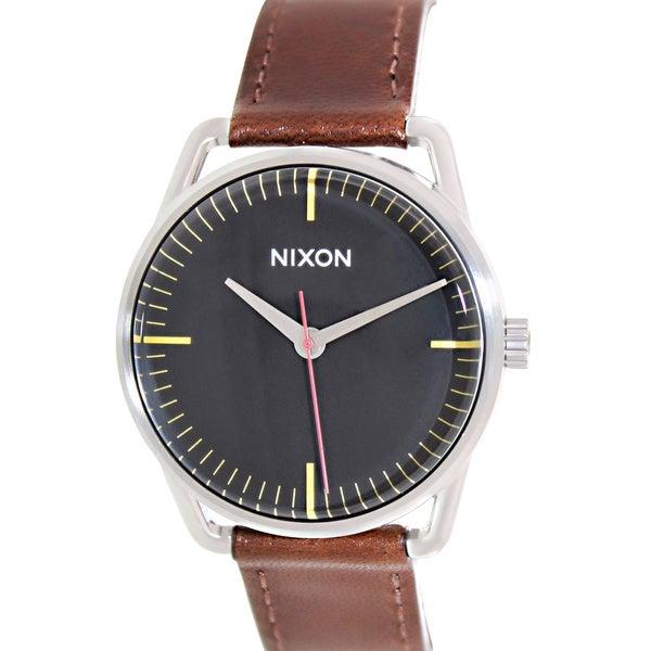 Nixon Men's Mellor A129019 Brown Leather Quartz Watch with Black Dial