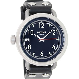 Nixon Men's October A488000 Black Rubber Swiss Quartz Watch with Black Dial