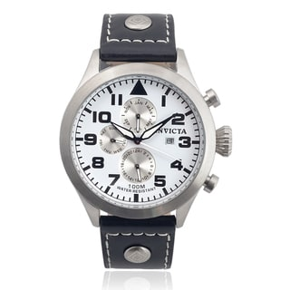 Invicta Men's 0351 Leather 'I-Force' Chronograph Quartz Watch