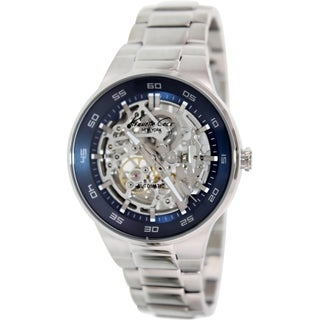 Kenneth Cole Men's KC9341 Silvertone Stainless Steel Automatic Watch with Blue Dial