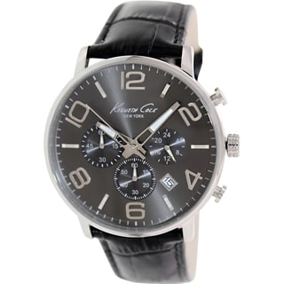 Kenneth Cole Men's KC8007 Black Leather Quartz Watch with Grey Dial