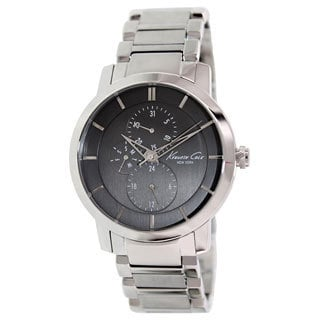 Kenneth Cole Men's KC9354 Silvertone Stainless Steel Quartz Watch with Black Dial