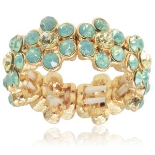 Journee Collection Brass CZ Flower Stretch Ring
