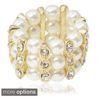 Journee Collection Brass Pearl and CZ Stretch Ring
