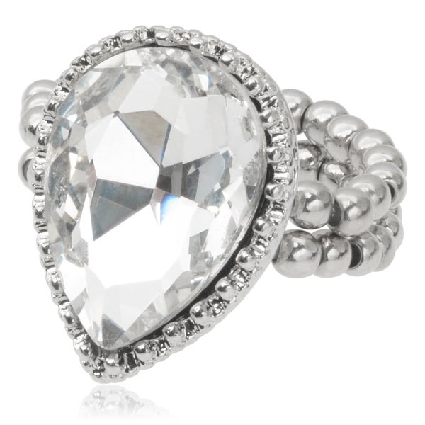 Journee Collection Brass Rhinestone Stretch Ring