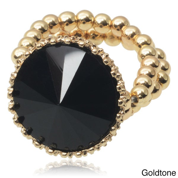 Journee Collection Brass Rhinestone Stretch Ring