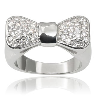 Journee Collection Brass Cubic Zirconia Bow Ring