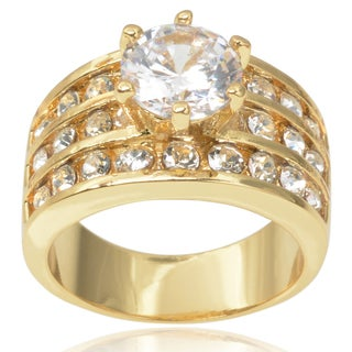 Journee Collection Brass Cubic Zirconia Bridal Style Ring