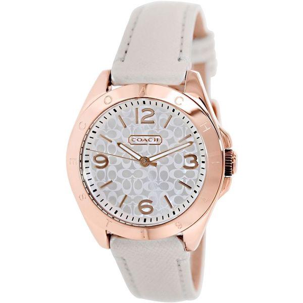 Coach Women's Tristen 14501704 White Leather Quartz Watch with Silvertone Dial