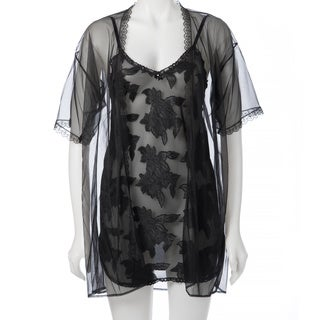 Romance Selections Women's Clipped-chiffon Chemise with Matching Sheer Coat