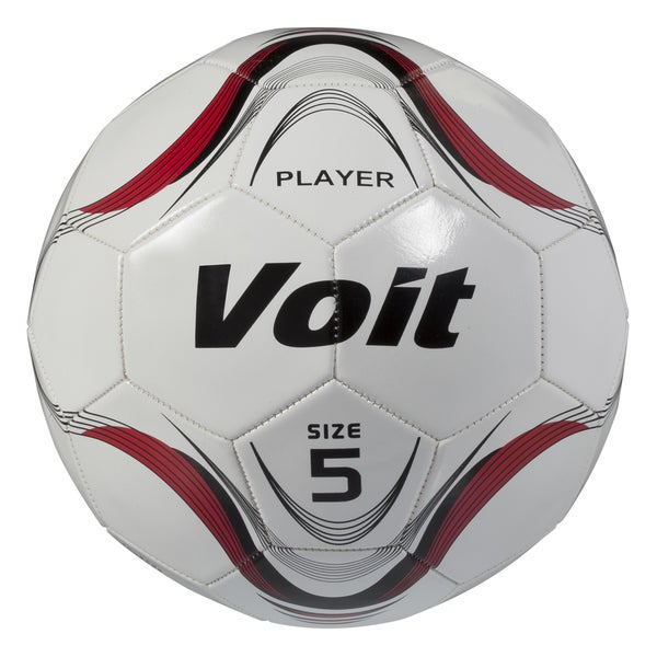 Voit Size 5 Player Soccer Ball Deflated - White and Red Graphic