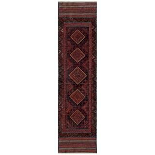 Herat Oriental Semi-antique Afghan Hand-knotted Tribal Balouchi Red/ Navy Wool Rug (2' x 8'5)