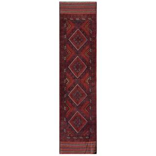 Herat Oriental Semi-antique Afghan Hand-knotted Tribal Balouchi Red/ Navy Wool Rug (2' x 8'2)