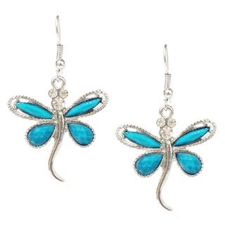 Faux Turquoise/ Blue Rhinestone Crystal Drgonfly Dangle Earrings