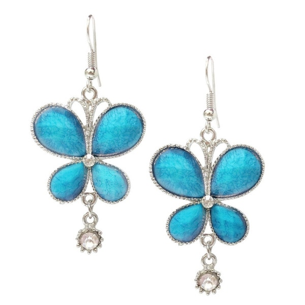 Faux Turquoise/ Blue Rhinestone Crystal Butterfly Earrings